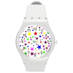 Stars Pattern Background Colorful Red Blue Pink Round Plastic Sport Watch (M)