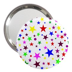 Stars Pattern Background Colorful Red Blue Pink 3  Handbag Mirrors