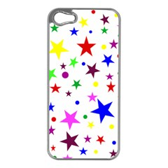 Stars Pattern Background Colorful Red Blue Pink Apple iPhone 5 Case (Silver)