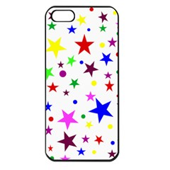 Stars Pattern Background Colorful Red Blue Pink Apple iPhone 5 Seamless Case (Black)