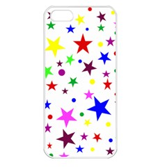 Stars Pattern Background Colorful Red Blue Pink Apple iPhone 5 Seamless Case (White)