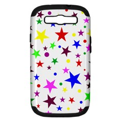 Stars Pattern Background Colorful Red Blue Pink Samsung Galaxy S III Hardshell Case (PC+Silicone)