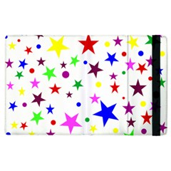 Stars Pattern Background Colorful Red Blue Pink Apple iPad 2 Flip Case