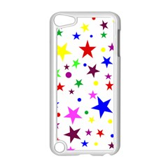 Stars Pattern Background Colorful Red Blue Pink Apple iPod Touch 5 Case (White)