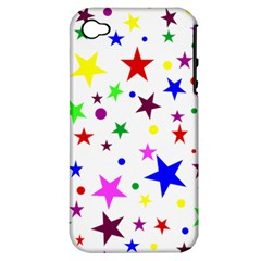 Stars Pattern Background Colorful Red Blue Pink Apple iPhone 4/4S Hardshell Case (PC+Silicone)