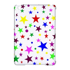 Stars Pattern Background Colorful Red Blue Pink Apple iPad Mini Hardshell Case (Compatible with Smart Cover)