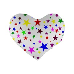 Stars Pattern Background Colorful Red Blue Pink Standard 16  Premium Heart Shape Cushions