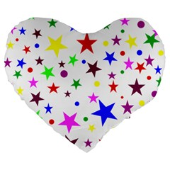 Stars Pattern Background Colorful Red Blue Pink Large 19  Premium Heart Shape Cushions