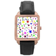 Stars Pattern Background Colorful Red Blue Pink Rose Gold Leather Watch