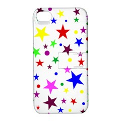 Stars Pattern Background Colorful Red Blue Pink Apple iPhone 4/4S Hardshell Case with Stand