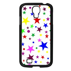 Stars Pattern Background Colorful Red Blue Pink Samsung Galaxy S4 I9500/ I9505 Case (Black)