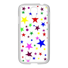 Stars Pattern Background Colorful Red Blue Pink Samsung Galaxy S4 I9500/ I9505 Case (white)