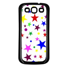 Stars Pattern Background Colorful Red Blue Pink Samsung Galaxy S3 Back Case (black)