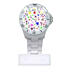 Stars Pattern Background Colorful Red Blue Pink Plastic Nurses Watch