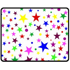 Stars Pattern Background Colorful Red Blue Pink Double Sided Fleece Blanket (medium)