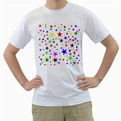 Stars Pattern Background Colorful Red Blue Pink Men s T-Shirt (White)