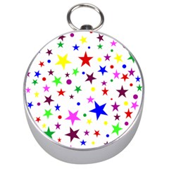 Stars Pattern Background Colorful Red Blue Pink Silver Compasses