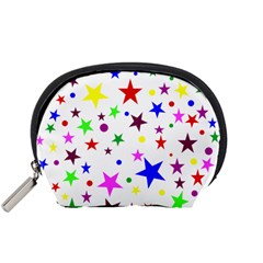 Stars Pattern Background Colorful Red Blue Pink Accessory Pouches (Small)
