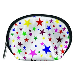 Stars Pattern Background Colorful Red Blue Pink Accessory Pouches (Medium)