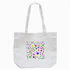 Stars Pattern Background Colorful Red Blue Pink Tote Bag (White)