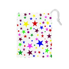 Stars Pattern Background Colorful Red Blue Pink Drawstring Pouches (Medium)