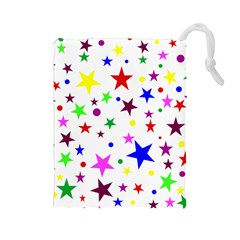 Stars Pattern Background Colorful Red Blue Pink Drawstring Pouches (Large)