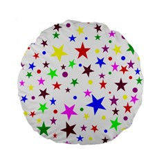 Stars Pattern Background Colorful Red Blue Pink Standard 15  Premium Flano Round Cushions