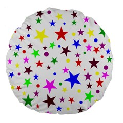 Stars Pattern Background Colorful Red Blue Pink Large 18  Premium Flano Round Cushions
