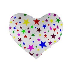 Stars Pattern Background Colorful Red Blue Pink Standard 16  Premium Flano Heart Shape Cushions