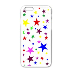 Stars Pattern Background Colorful Red Blue Pink Apple iPhone 6/6S White Enamel Case
