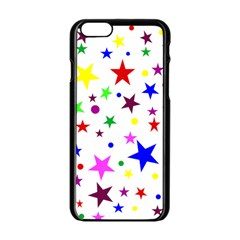 Stars Pattern Background Colorful Red Blue Pink Apple iPhone 6/6S Black Enamel Case