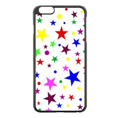 Stars Pattern Background Colorful Red Blue Pink Apple iPhone 6 Plus/6S Plus Black Enamel Case