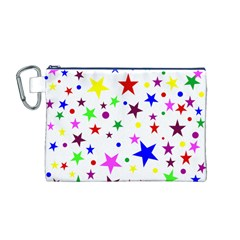 Stars Pattern Background Colorful Red Blue Pink Canvas Cosmetic Bag (M)