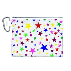 Stars Pattern Background Colorful Red Blue Pink Canvas Cosmetic Bag (L)