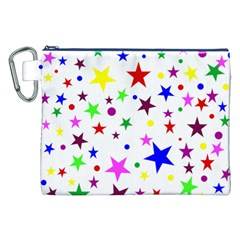 Stars Pattern Background Colorful Red Blue Pink Canvas Cosmetic Bag (XXL)