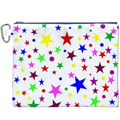 Stars Pattern Background Colorful Red Blue Pink Canvas Cosmetic Bag (XXXL)