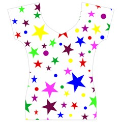 Stars Pattern Background Colorful Red Blue Pink Women s V-Neck Cap Sleeve Top