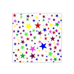 Stars Pattern Background Colorful Red Blue Pink Satin Bandana Scarf
