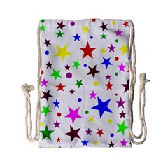 Stars Pattern Background Colorful Red Blue Pink Drawstring Bag (Small)