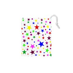 Stars Pattern Background Colorful Red Blue Pink Drawstring Pouches (XS)