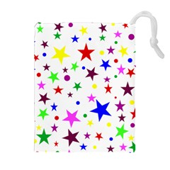 Stars Pattern Background Colorful Red Blue Pink Drawstring Pouches (Extra Large)