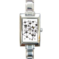 Grid Construction Structure Metal Rectangle Italian Charm Watch