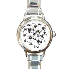 Grid Construction Structure Metal Round Italian Charm Watch
