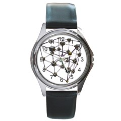 Grid Construction Structure Metal Round Metal Watch