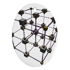 Grid Construction Structure Metal Ornament (Oval)