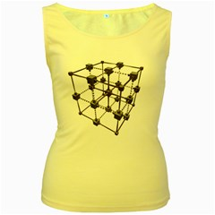 Grid Construction Structure Metal Women s Yellow Tank Top