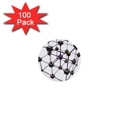 Grid Construction Structure Metal 1  Mini Buttons (100 pack)