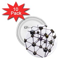 Grid Construction Structure Metal 1.75  Buttons (10 pack)