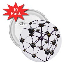 Grid Construction Structure Metal 2.25  Buttons (10 pack)
