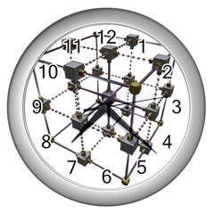 Grid Construction Structure Metal Wall Clocks (Silver)